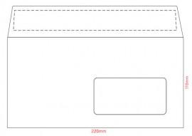 Конверт E65 110*220 отр. лента , с окном, 80гр./м2., загрузка по длинной стороне