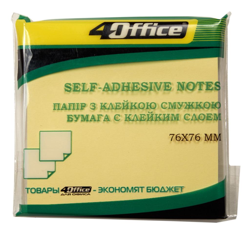 Блок бумаги с клейким слоем 76*76мм.*100 листов, желт. 4Office - фото 1