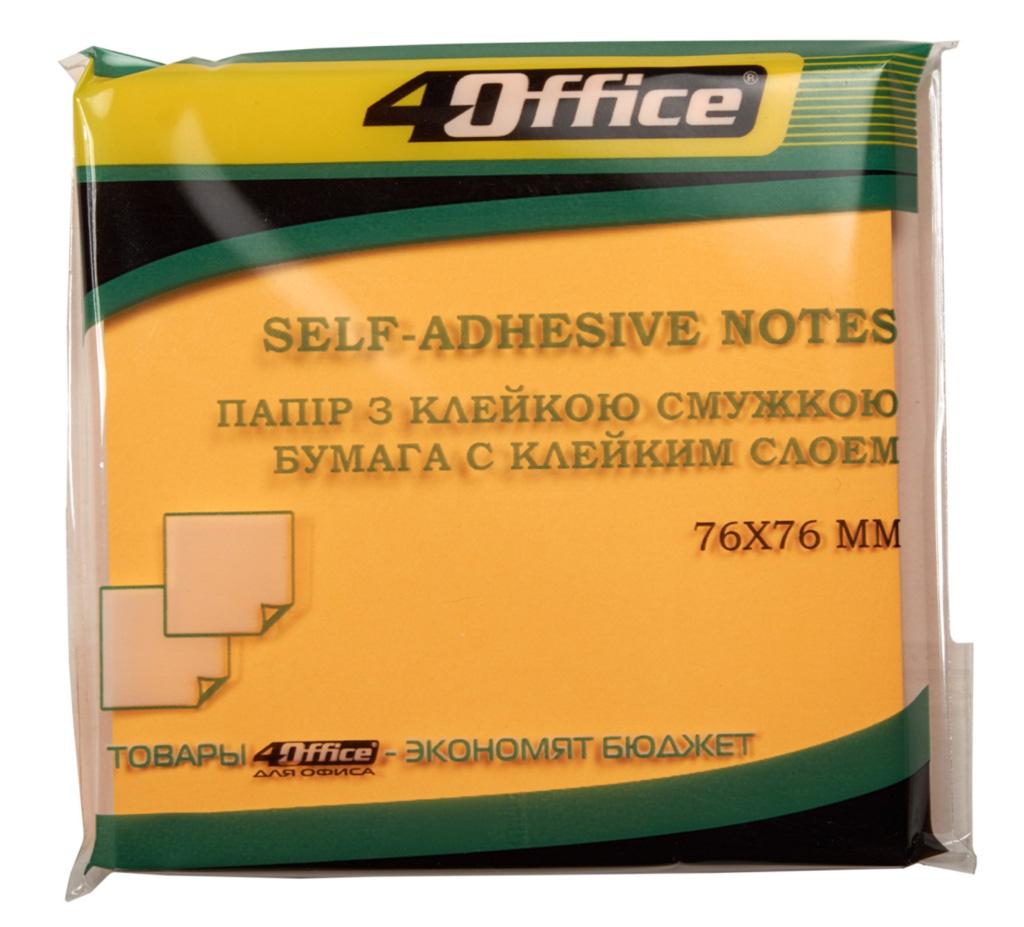 Блок бумаги с клейким слоем 76*76мм.*80 листов, неон. ассорт. 4Office - фото 1