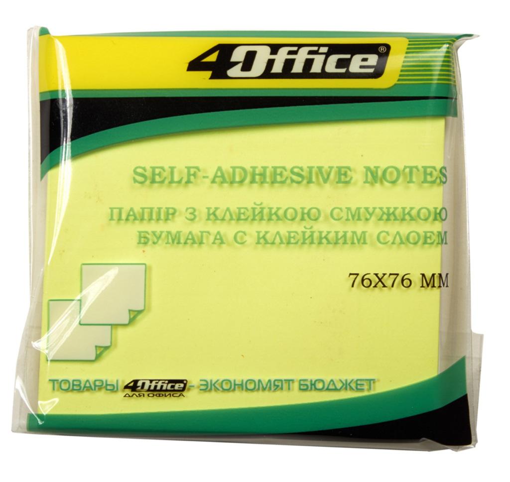 Блок бумаги с клейким слоем 76*76мм.*80 листов, неон. желт. 4Office - фото 1