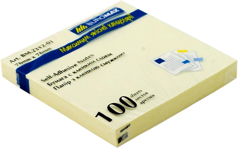 Блок бумаги с клейким слоем 76*76мм.*100 листов, желт. BuroMax - фото 1