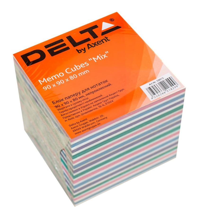 Блок для записи неклееный 90*90*80мм., Mix Delta - фото 1
