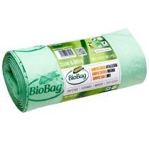 Мешки для мусора биоразлагаемые BioBag на 125-150литров, 75*115см., 40микрон, 5шт. в рул., зелен.