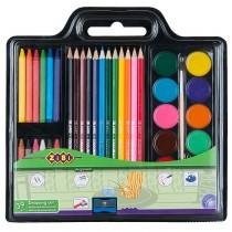 Набор для рисования (краски, цв. карандаши, мел восковый, кисть натуралная, точилка)