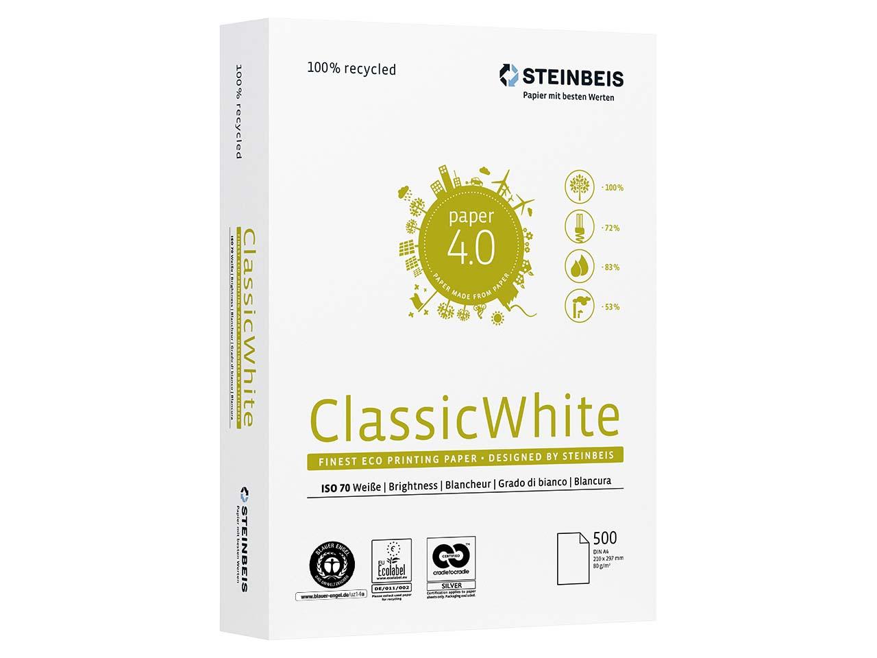 Бумага А4 80гр./м2. 500 лист. Classic White ISO 70/СІЕ 55 на 100% из втор. сырья, сероватый оттенок STEINBEIS - фото 1
