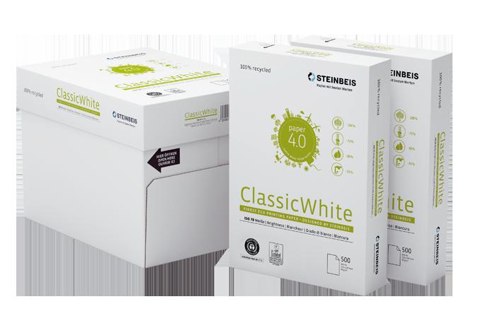 Бумага А4 80гр./м2. 500 лист. Classic White ISO 70/СІЕ 55 на 100% из втор. сырья, сероватый оттенок STEINBEIS - фото 2