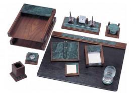 Набор настольный деревянный+мрамор 9 предметов, орех