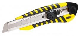 Нож канцелярский большой 18мм., метал. направляющая, винтовой фиксатор, прорезиненный корп.