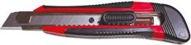 Нож канцелярский большой 18мм., метал. направляющая, прорезиненный корпус