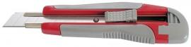Нож канцелярский большой 18мм., метал. направляющая, прорезиненный корпус, красно/серый пласт.