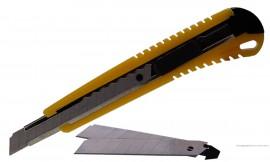 Нож канцелярский малый 9мм., метал. направляющая + 2 лезвия