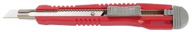 Нож канцелярский малый 9мм., метал. направляющая, красно/серый пласт.