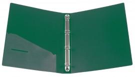 Папка А4 35мм. 4кольца, пластик, внутренний карман, зелен.