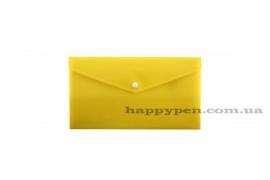 Папка-конверт на кнопке E65/DL (253*129мм), PP-115, толщина 180мкм., желт.