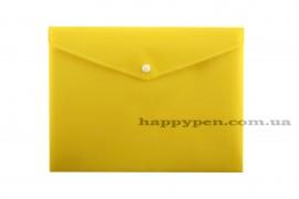 Папка-конверт на кнопке с расширением А4 (330*260мм), PP-116, толщина 180мкм., желт.