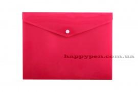Папка-конверт на кнопке с расширением А4 (330*260мм), PP-116, толщина 180мкм., розов.