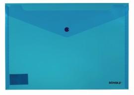 Папка-конверт на кнопке А4, прозрачная, толщина 180мкм., син.