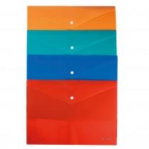 Папка-конверт на кнопке В5+ (210*285мм.), непрозр., ассорт.