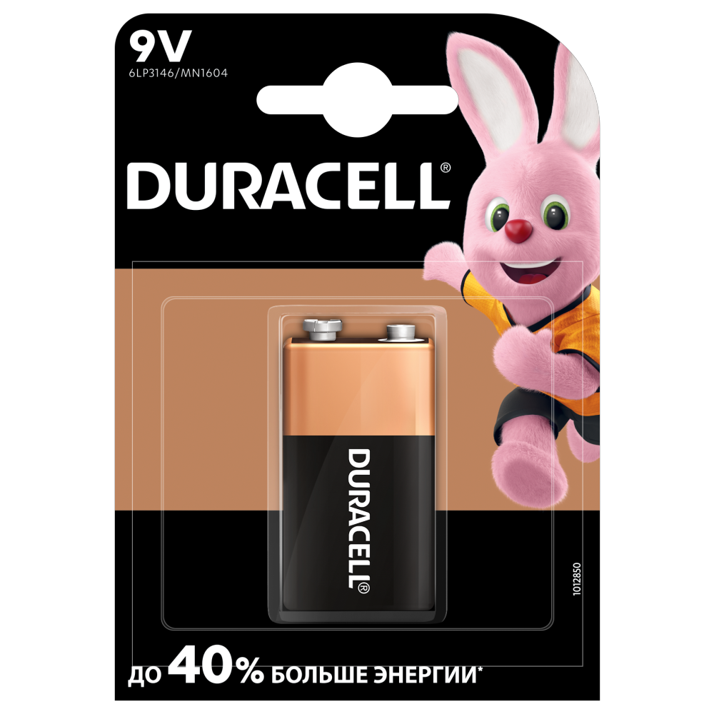 Батарейка 9V, 6LR61/MN1604/6LP3146/6LF22/PP3/ER9V/Крона/Корунд, Alkaline Duracell - фото 1