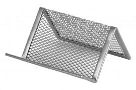 Подставка для визиток металлическая, серебр.
