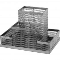 Подставка для ручек и канцтоваров на 4 отделения металлическая, серебр.