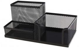 Подставка для ручек и канцтоваров на 3 отделения металлическая, черн.