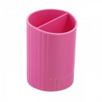 Подставка для ручек на 2 отделения пластиковая, розов.