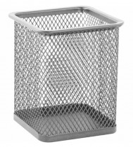 Подставка для ручек металлическая перфорированная квадратная, серебр.