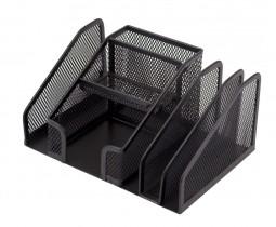 Подставка для ручек и канцтоваров на 7 отделений металлическая, черн.