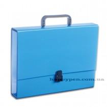 Портфель с ручкой, картонный А4 (32*23,5*5см), на 1 отделение, голуб.
