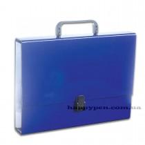 Портфель с ручкой, картонный А4 (32*23,5*5см), на 1 отделение, темно-син..