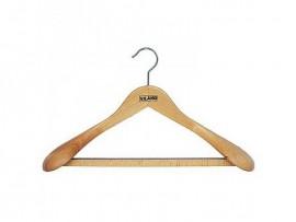 Вешалка деревянная для верхней одежды, с перекладиной, с резиновой лентой, 43см. х 6,5см. х 16см.